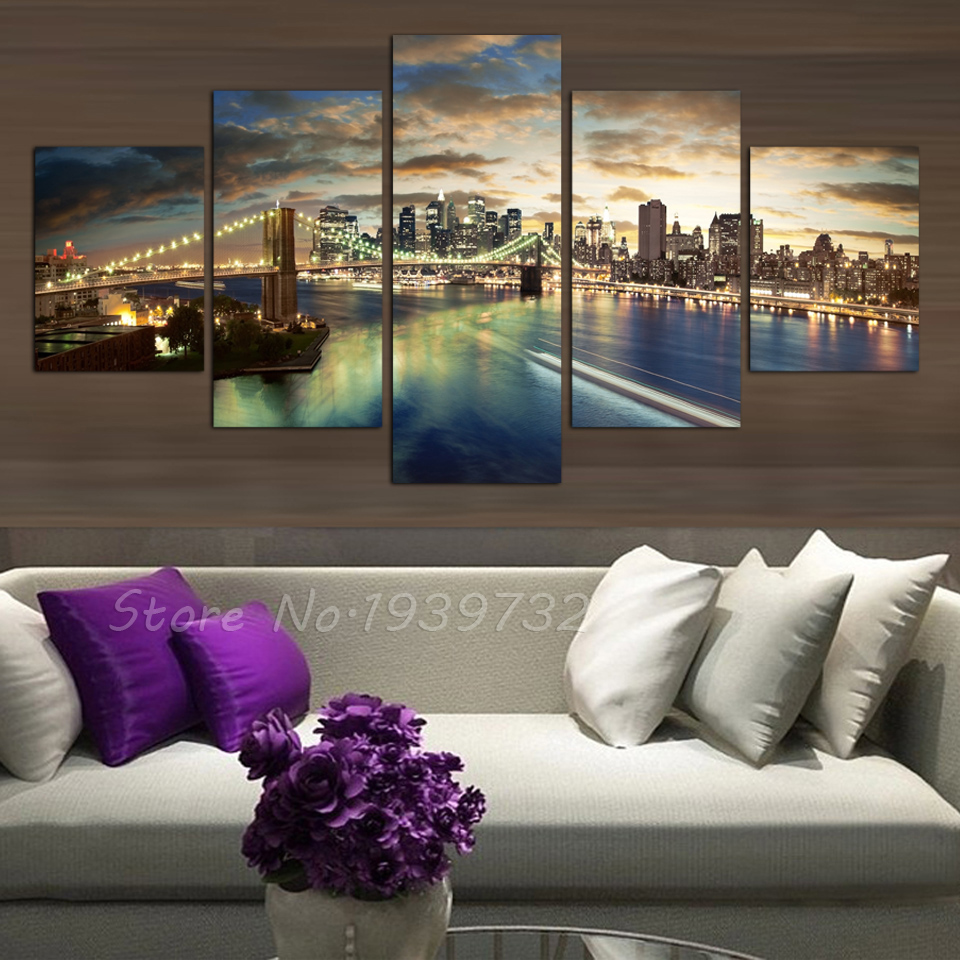 Free shipping 5 panel high quality new york city landscape for New york home decorations