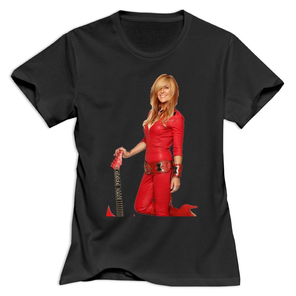New arrival custom lita ford smile tee shirt women slim for Custom t shirts for women