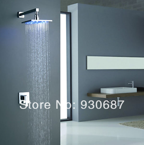 "Фотография Chrome Finish Bathroom wall Mount Shower Set Faucet 10""Brass LED Shower Head"