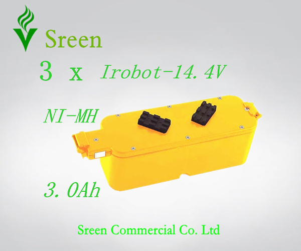 3 x New 14.4V Ni-MH 3.0Ah Replacement Vacuum Rechargeable Battery for iRobot Roomba 400 4905 25247006 4232 4130 4150 4170 4188(China (Mainland))