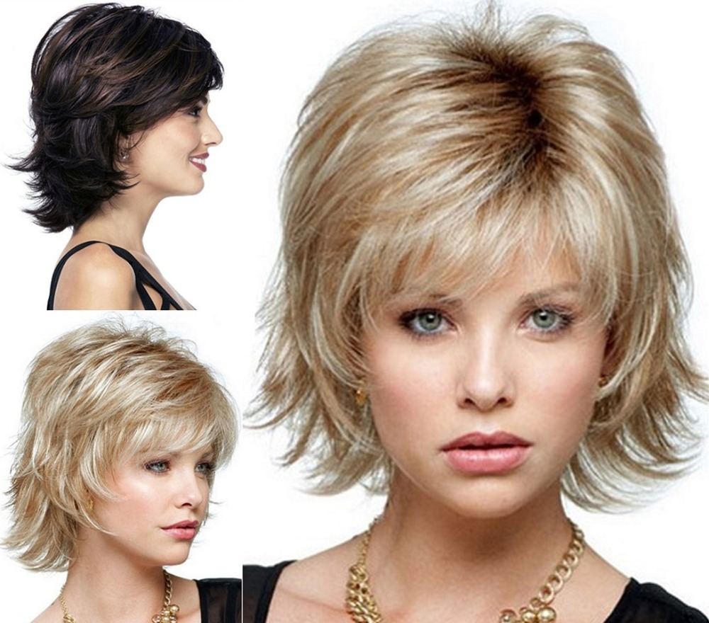 Fluffy short wig blonde Synthetic Curly Short hair Wig many colors for choose free shipping