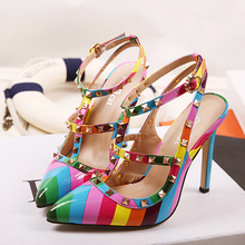 2105 Hot Fashion Women Shoes Pumps Spell Color Rainbow Pointed Toe High Heels Buckle Studded Stiletto