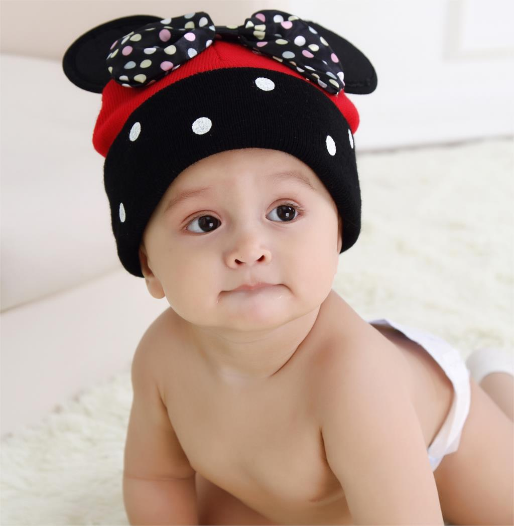 Baby Girls Caps Brand Cartoon Pattern Dot Bow Baby Beanie Hats Caps For Girl Crochet New Fashion Children's Hats 2016 Hot Sale(China (Mainland))