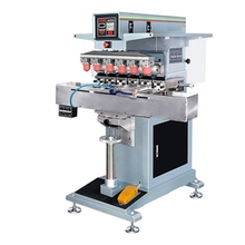 pneumatic 6 color shuttle pad printing machine with ink cup,PLC control