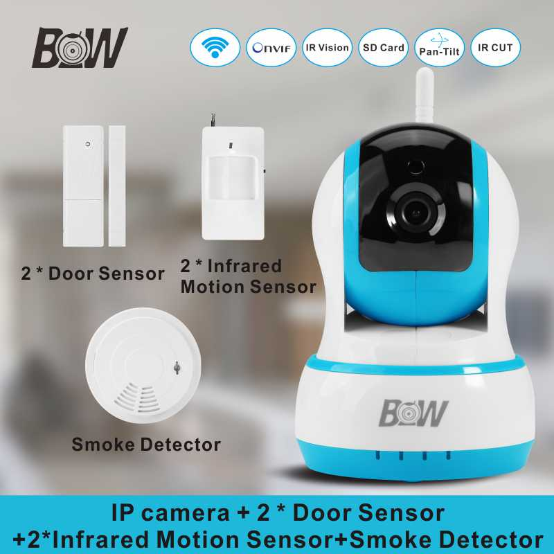 Mini PTZ PnP IP Camera +2 Door&Infrared Motion Sensor +Smoke Detector Night Vision Wifi Camera Alarm Security CCTV Monitor BW13B(China (Mainland))