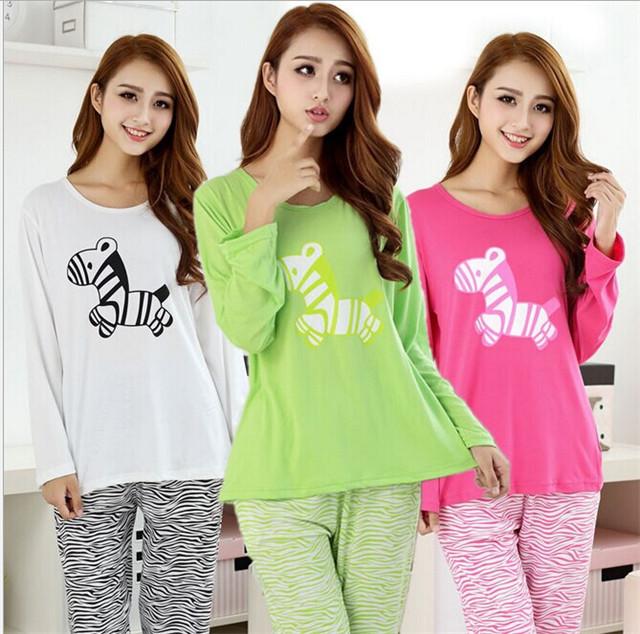3 color nuova primavera delle donne di autunno stampa cavallo carattere pigiami sets long sleeve sleepwear pigiami(China (Mainland))