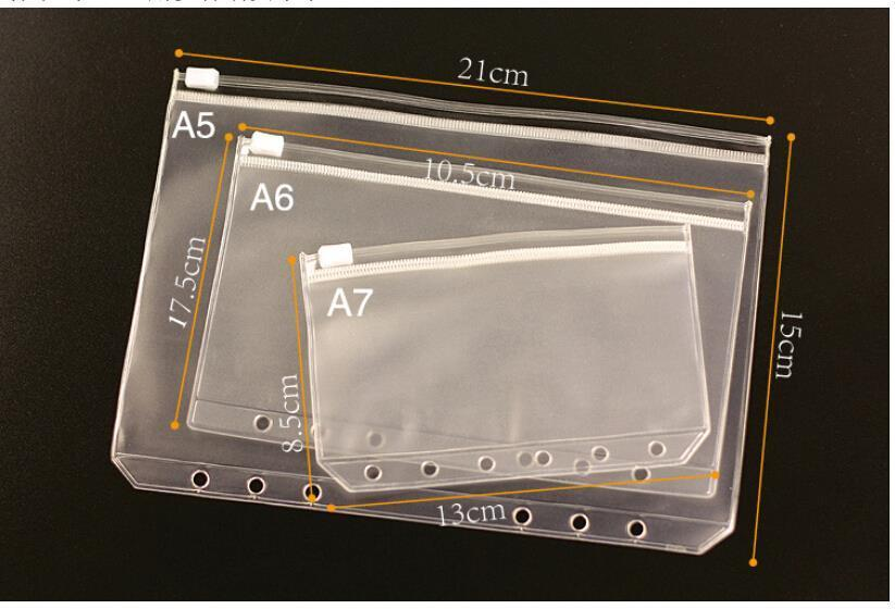 1PCS Transparent PVC Storage Bag Card Holder Bag PVC Presentation Binder Folder Zipper Receive Bag 3 Sizes A5 / A6 / A7(China (Mainland))