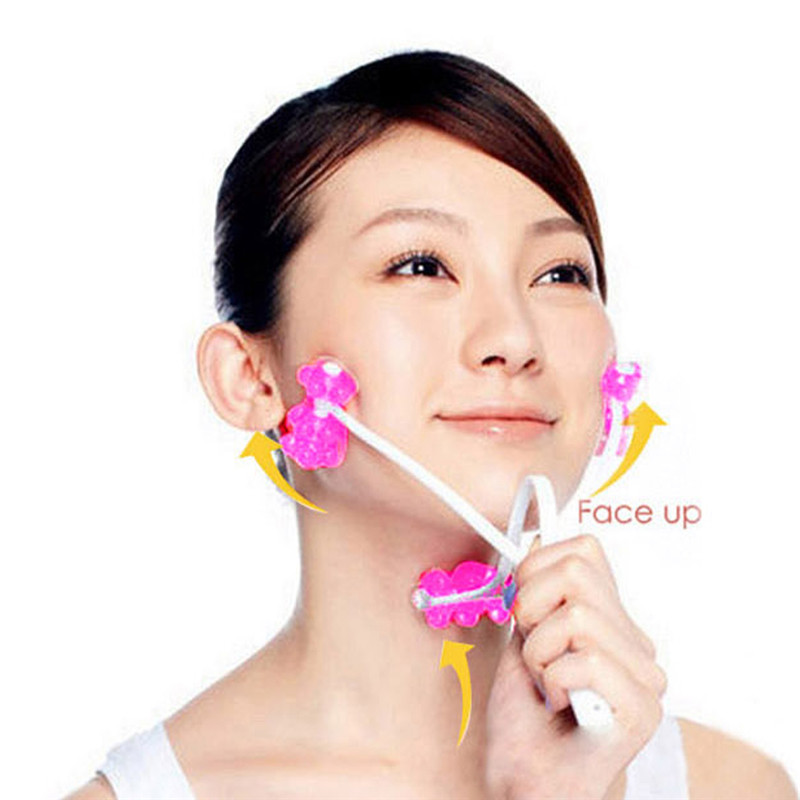 High Quality Slimming Remove Chin Neck Massager Face Up Roller Massage Relaxation Beauty 2 in 1 Tools(China (Mainland))