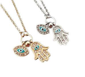 Fashion Evil Eye Charm Hamsa Fatima Hand Classic Silver Gold Necklace Jewelry freeshipping - Ladys secret NO.1 store