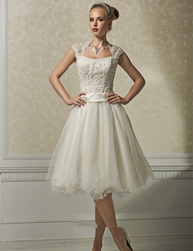 1950s vintage short wedding dresses backless cap sleeve for Tulle wedding dress with sleeves