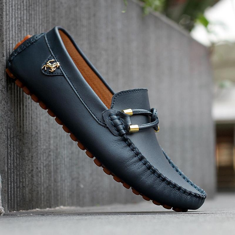 2015 Sale Black Genuine Leather Loafers Mens Fashion Boat Shoes Fashion Brown Male Platform ...