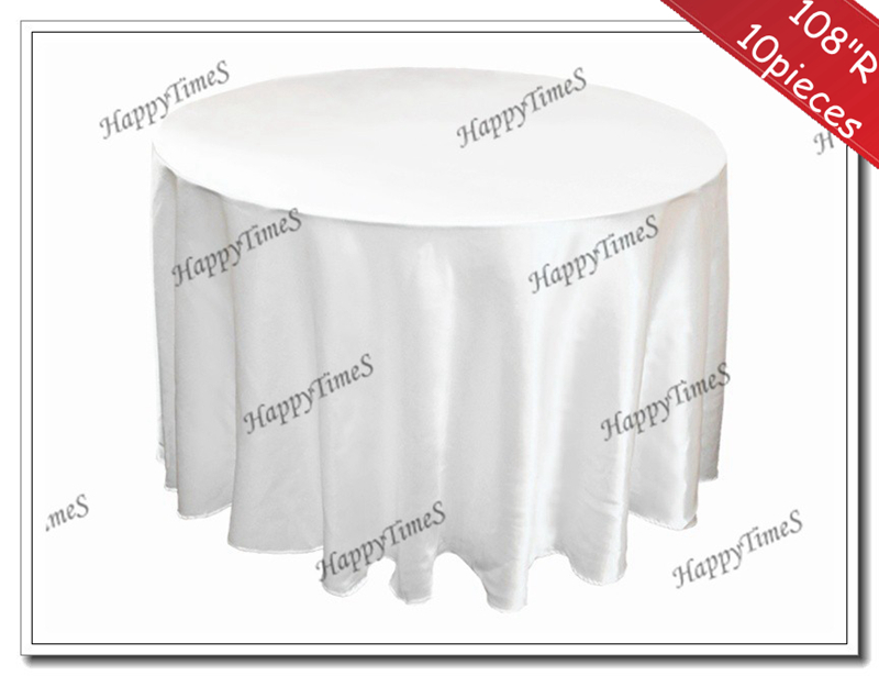 """108"""" 10pcs/lot Luxury Round Table Tablecloths Satin Fabric Wedding&Banquet Decorations(China (Mainland))"""