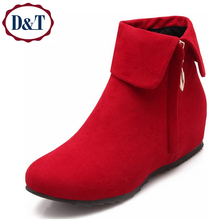 {D&T}Height Increasing Ankle Women Boots Spring/Autumn Round Toe Low Heel Casual Suede Boots Shoes Woman Plus Size47(China (Mainland))
