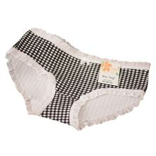 Sexy Underwear Women Panties Candy Color Plaid Cotton Seamless Briefs