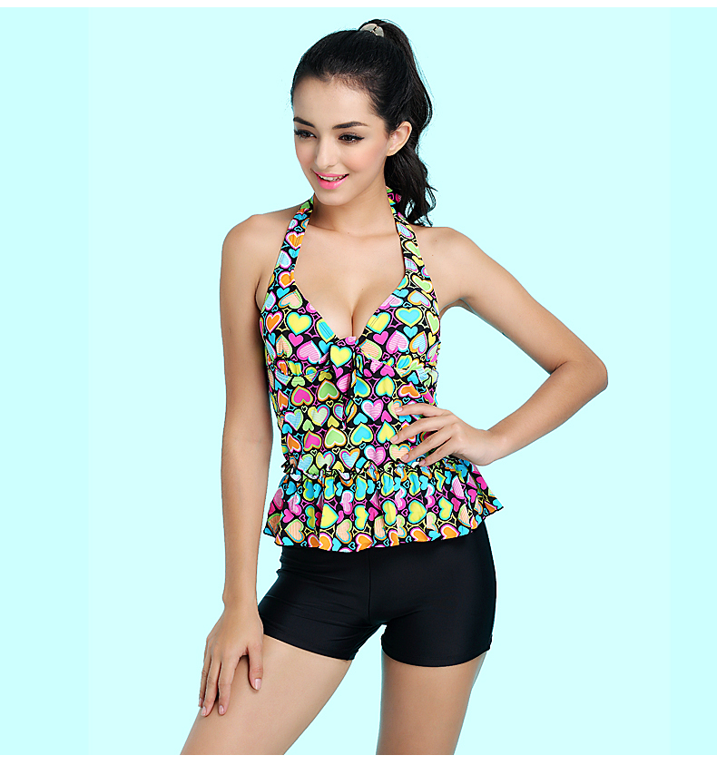 Beautiful Floral Print Modest Women Two Pieces Swimsuit ...