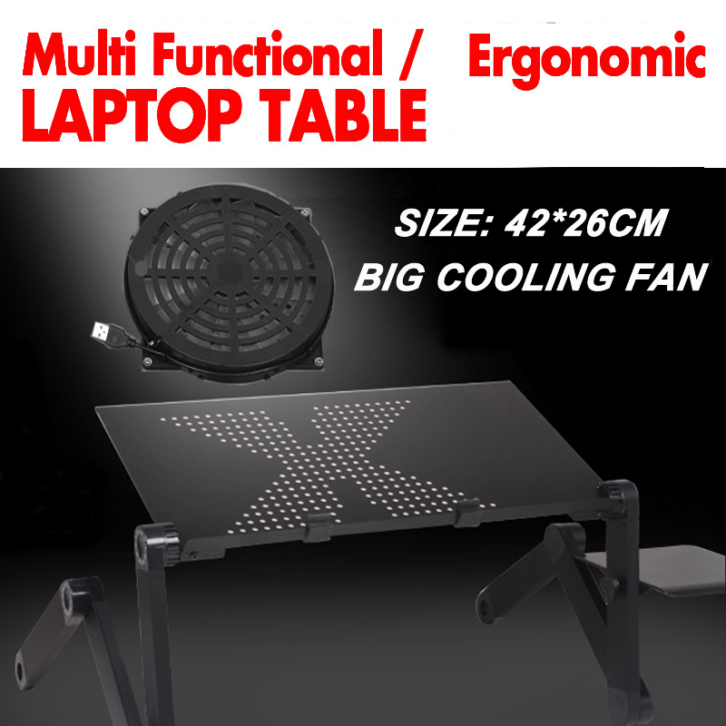 360 rolling mesa suporte para notebook stand for bed Folding Portalbe laptop table for bed with big cooling fan and mouse pad(China (Mainland))