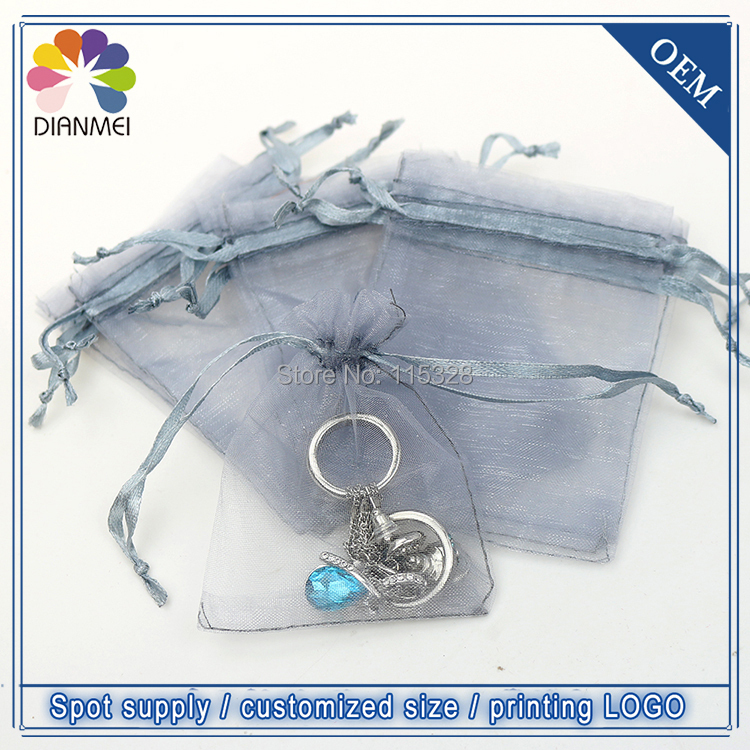 New Fashion 100pcs/lot 7x9cm Gray Organza Drawstring Jewelry Bags Supply Gift Packaging Bags Accept Custom Logo Printing Package(China (Mainland))