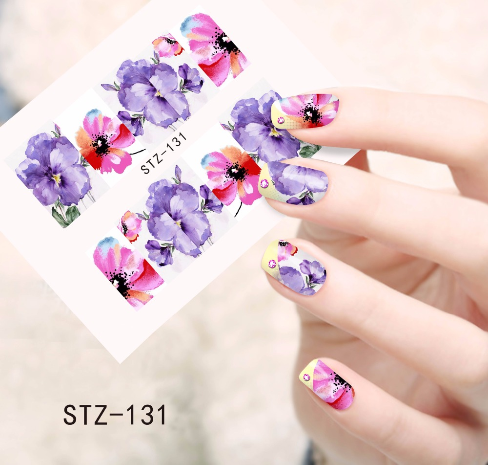 1PCS Purple and Pink Printing Nail Art Image Stickers Nail Decals Water Transfer Full Wraps Foils Beauty Care Tools STZ131(China (Mainland))