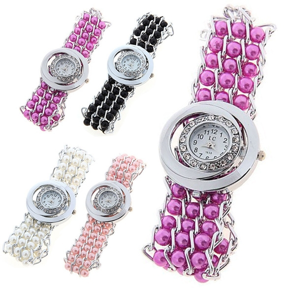 Summer Fashion Latest Popular Style Sparkling Rhinestone Beads Decoration Chain Wristwatches Women Quartz Watches - Agan Trading Company store