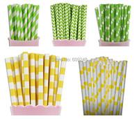 125pcs смешанные цвета яркие желтые и зеленые бумажные соломка - лимон и Лайм соломы ретро Винтаж торт поп леденец палочки