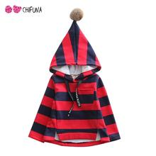 2016 Boys Girls Hoodies Long Sleeve Striped Hooded Kids Coat Outerwear Autumn Winter Baby Tops Children Clothing(China (Mainland))