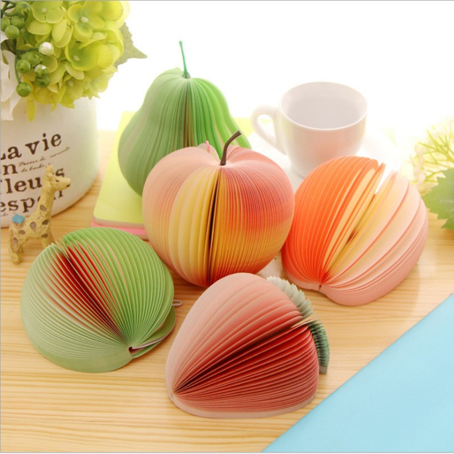 Office Creative Personality Stationery DIY Fruit Paper Notes Apple Nnotes Tthis Sticky Fruit Memo Pads(China (Mainland))