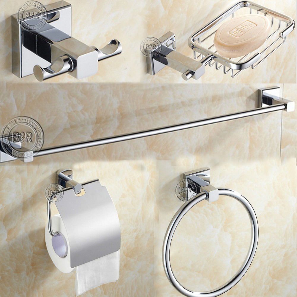 Free shipping,Round Stainless Steel Bathroom Accessories Set,Soap dish,Robe hook,Paper Holder,Towel Bar,5 pcs/set,(China (Mainland))