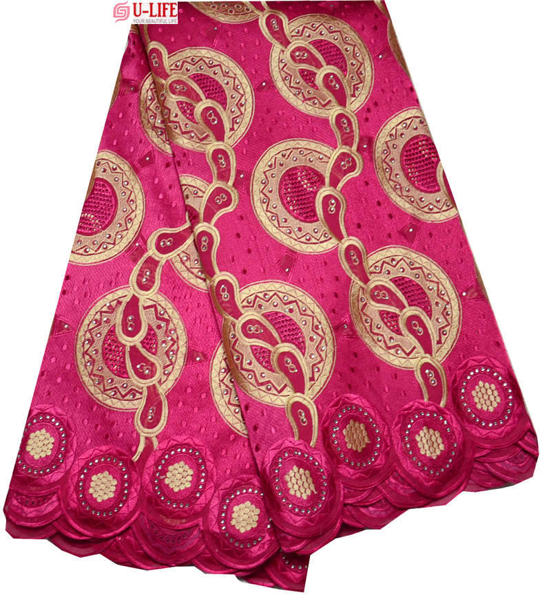 Здесь можно купить  Newest design 100% Soft Cotton African Swiss voile lace high quality Fuchsia color With Rhinestone For Wedding Dress BG-049  Дом и Сад