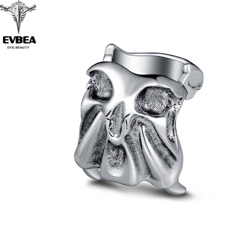 Rock Roll kpop Silver Gothic Punk Square Skull Big Adjustable Rotating Bikers Bible Rings Men's & Boys' Jewelry(China (Mainland))