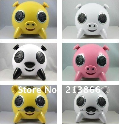 Wholesale--2012 Newest Cartoon Series Speaker Tiger Panda Pig 2.1 Loudspeaker with MP3 Playing Function support SD TF U-Disk