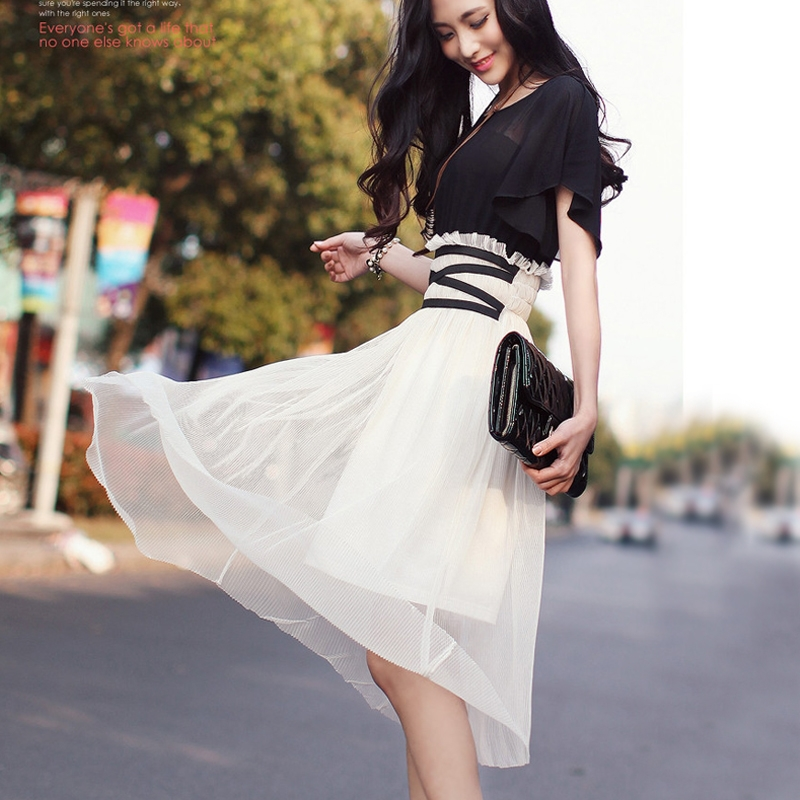 2015 new summer style bohemian dress Elegant temperament Slim thin long sections short sleeve lace pleated chiffon - Specialty trading company fairyland store