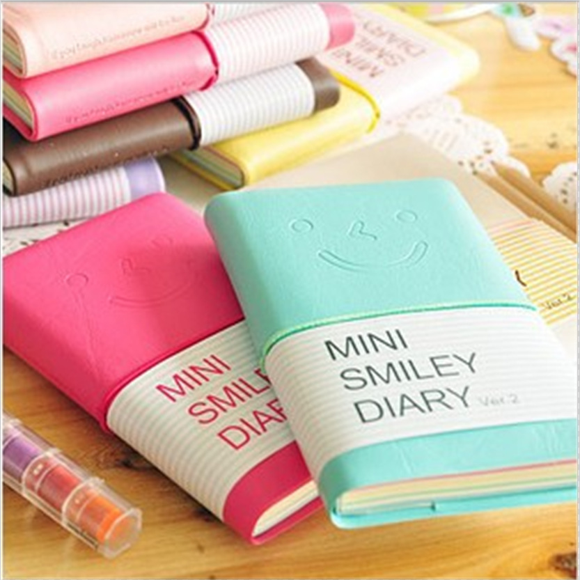 8 Colours NEW Mini Smiley Diary Notebook Memo Book leather Note Pads Stationery as gift for chirldren Free Shipping<br><br>Aliexpress