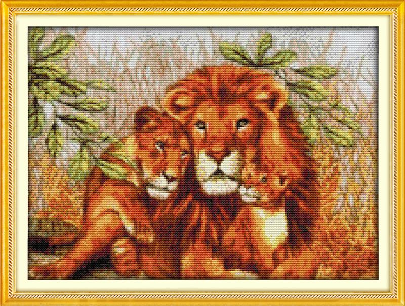 Вышивка крестом Львы фото