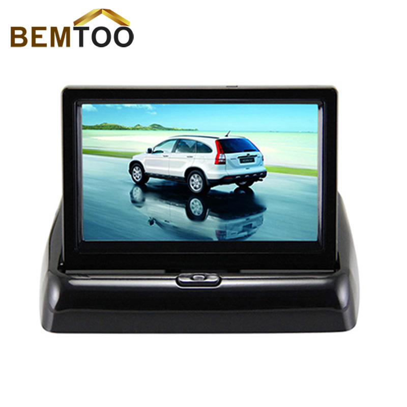 """Rear View Camera Parking 2ch Video 4.3 """" Foldable Tft Lcd Color Camera Rear view Mirror Car Monitor , free Shipping"""