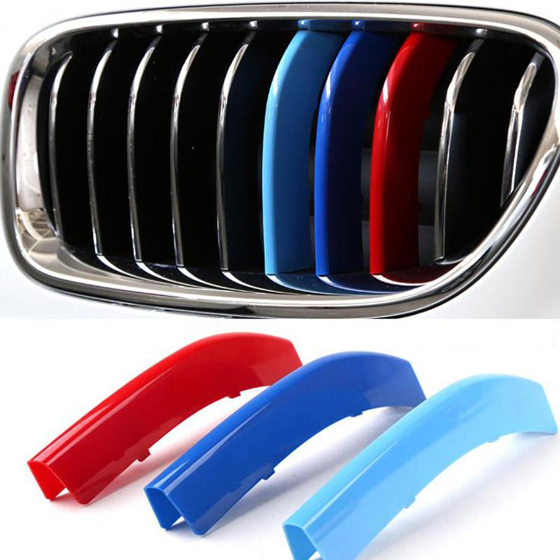 Car styling For BMW 3 4 5 X3 X4 X5 X6 F10 F18 F30 F35 3 Colors ABS 3D M Car Front Grille Trim Strips Cover Motorsport Stickers(China (Mainland))