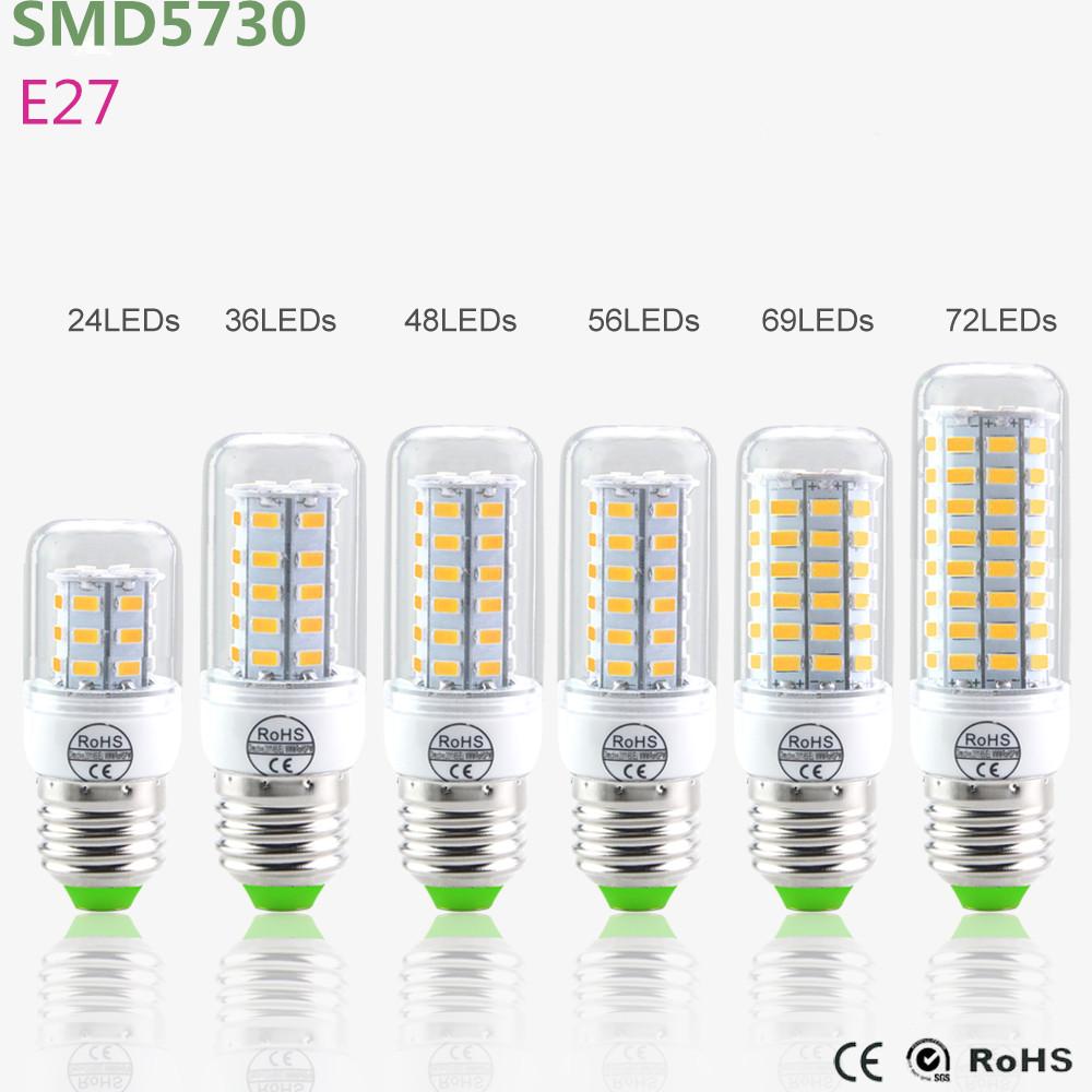 2016 NEW E27 Led Lamps 5730 220V 24 36 48 56 69 LED Lights Corn Led Bulb Christmas Chandelier Candle Lighting 1PCS/Lot(China (Mainland))