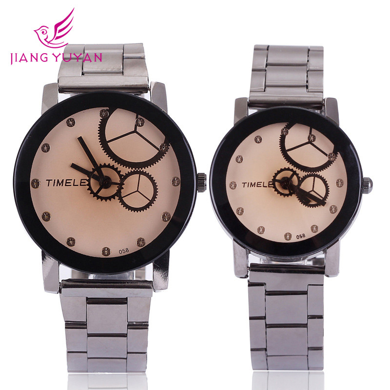 Trend fashion male women's spermatagonial lovers steel watch wheel gear analog design unique quartz high quality(China (Mainland))