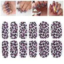 Hot New Arrival Colorful Beautiful Leopard Full Wrap Self Adhesive Stickers Nail Art Tips Stencil Decals Silver Bling Flash