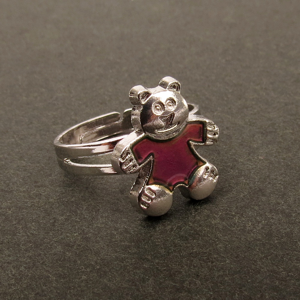 Women jewelry small teddy bear ring temperature change color mood ring girl gift(China (Mainland))