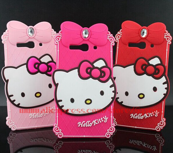 New Arrival Luxury Diamond Hello Kitty Soft Silicone Mobile Phone Back Case For Alcatel One Touch Pop C9 7047 7047D(China (Mainland))