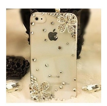 BRAND PHONE CASE-Double Flower Bling Rhinestone Crystal Cell Phone Cover Case iPhone 4 4S 5 5S 5C - merry Qu's store