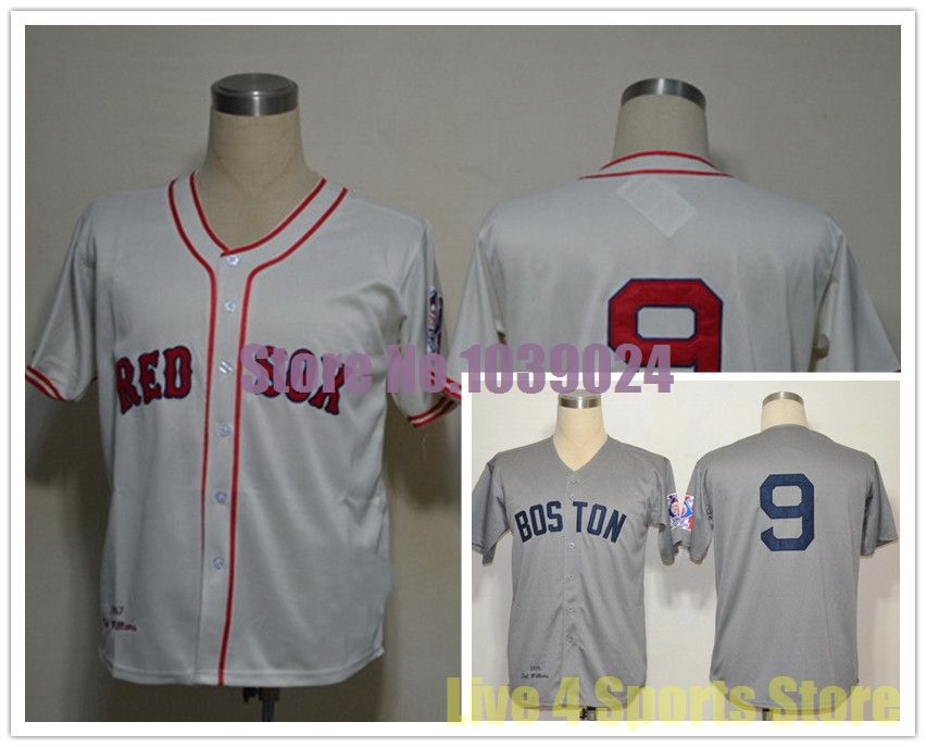NWT Boston Red Sox #9 Ted Williams Jersey White Cream 1939 MN Embroidery Baseball Jerseys Best Quality New Cheapest Online(China (Mainland))