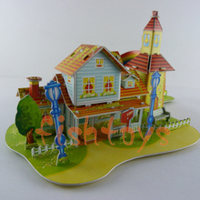 Hot Selling 3d Puzzle DIY toy Kids Educational toy 3D Paper Jigsaw Puzzle cartoon rainbow cabin free shipping(China (Mainland))