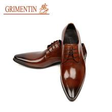 GRIMENTIN fashion Italian luxury designer formal dress men shoes genuine leather brown basic flats for men wedding size:6-11