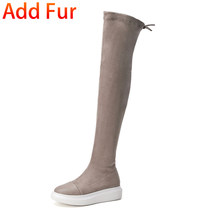 Frauen Mode Über Das Knie Stiefel Kuh Wildleder leder Flache bequeme Schuhe Frau Casual Weiche Herbst Winter Stiefel Frauen schuhe(China)