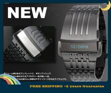 2014 nueva moda acero lleno llevó el reloj hombres digitales relojes deportivos hombres militares relojes Metal LED Faceless reloj de la pulsera