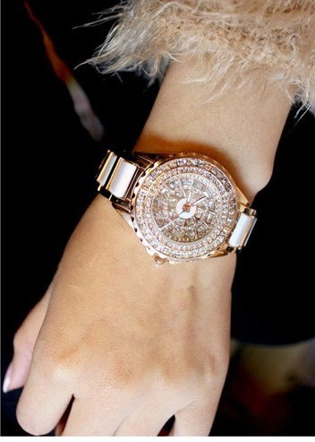 Ladies watch women's watch ceramic table ceramic watch fashion full rhinestone the trend of fashion table