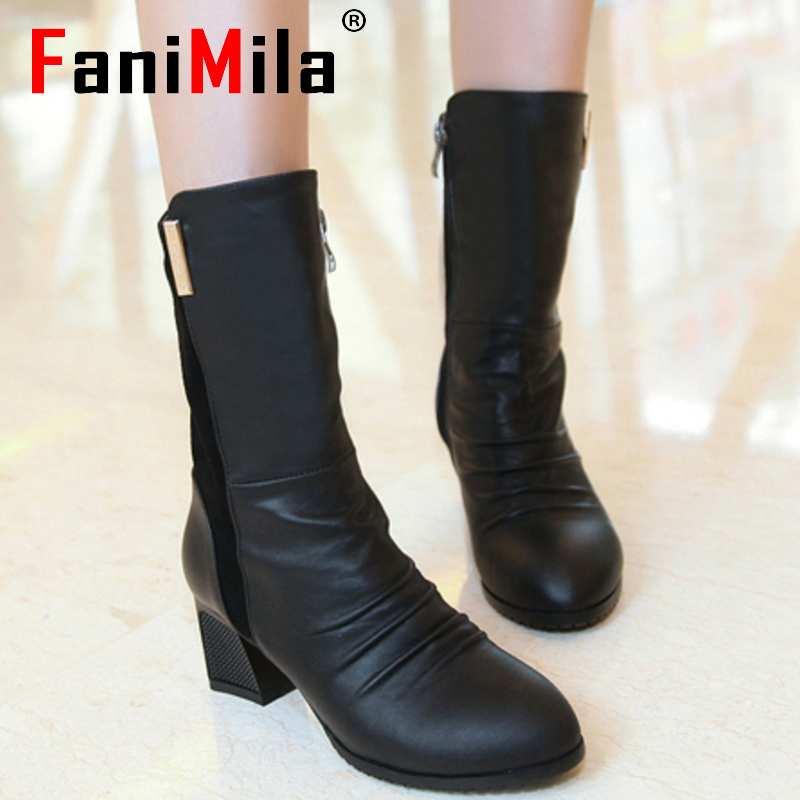 size 34-44 women real genuine leather high heel half short ankle boots snow winter botas footwear heels warm boot shoes R7412<br>