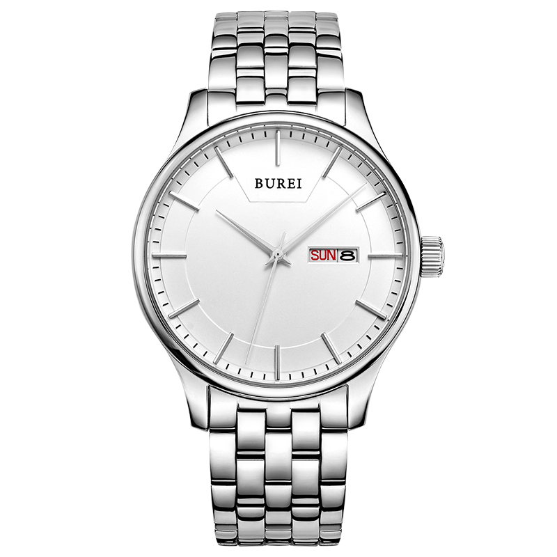 BUREI Men's Day Date Calfskin Leather Wrist Watch with Big Face Dial Stainless Business Casual Style Relogio Feminino Masculino(China (Mainland))