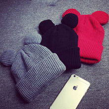 2016 Cap Women Winter Warm Knitted Hat Wool Cat Ears Hat Beanies Femals Hats Free Shipping